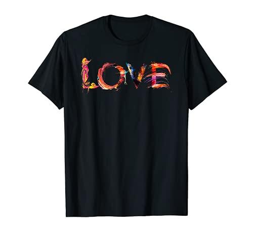 LOVE Liebe Schrift Kunst Kalligrafie Buchstabe Schriftart T-Shirt