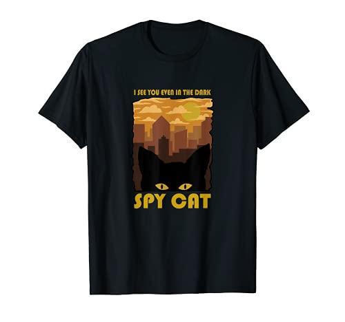 SPY CAT I see you even in the Dark Katze im Dunkeln Design T-Shirt
