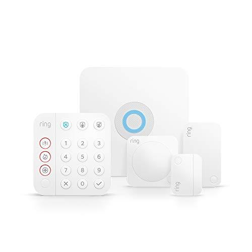 Ring Alarm 5-teiliges Kit (2. Gen.) von Amazon, brandneu – Heimsicherheitssystem mit optionaler unterstützter Überwachung – ohne langfristige Verpflichtungen – funktioniert mit Alexa