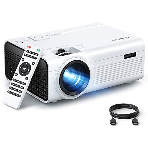 Crosstour Beamer, Tragbarer Mini Beamer, Unterstützung 1080P mit 55000 Stunden LED Beamer Kompatibel mit 4K-TV-Stick, HDMI, SD, AV, VGA, USB, PS4, X-Box, iOS/Android-Smartphone Projektor