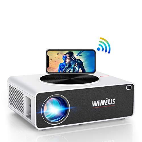 "WiFi Beamer, WiMiUS 7000 1080P Full HD Beamer Unterstützung 4K LED Heimkino Videobeamer 300"" Display Kompatibel mit Fire Stick, PS4, X Box, iOS / Android Smartphone Projektor (Weiß)"