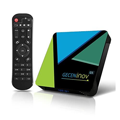 Smart-TV-Box, Bluetooth-TV-Box, Android 10.0 TV-Box, 4 GB RAM / 64 GB ROM 3D 4K @ 30fps Hochauflösende RK3318 Quad-Core-Cortex-A53-CPU, unterstützt 2,4 GHz WiFi H.265 von Gecen