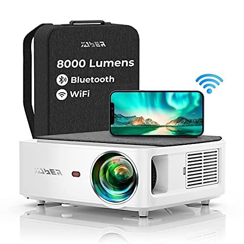 YABER WiFi Bluetooth 5G Beamer 8000 Lumen Full HD 1080P Heimkino Beamer, mit 4-Punkt Trapezkorrektur, Support 4k&50% Zoom,PPT Präsentation Beamer kompatibel mit iOS /Android/PC/Fire Stick Projektor