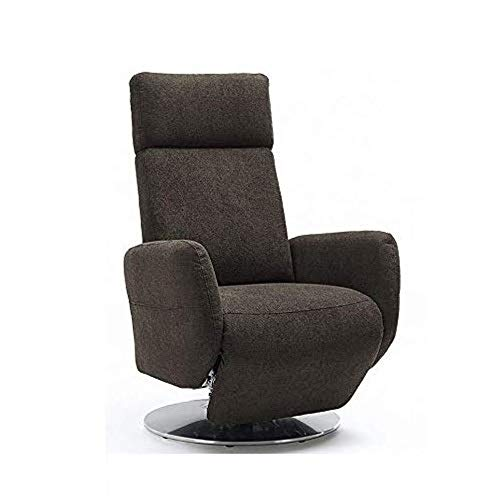 Cavadore TV-Sessel Cobra, Fernsehsessel mit 2 E-Motoren und Akku, Relaxfunktion, Liegefunktion, Ergonomie L, 71 x 112 x 82, Belastbar bis 130 kg, schlamm