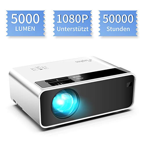 ELEPHAS Mini Beamer. 5000 Lumen Beamer für Heimkino, Unterstützt 1080P Full HD mit 50000 Stunden Tragbarer LED Projektor weiß, kompatibel mit TV Stick /PS4/X-Box/HDMI/SD/AV/VGA/USB,iOS/Android Mehrweg