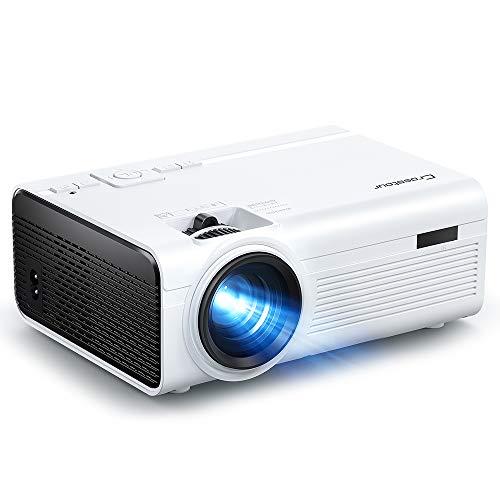Crosstour Beamer, Mini Video Full HD Unterstützt Heimkino Projector LED Handy Tragbar Projektor Kompatibel mit Chromecast/Android/TV Box/Tablet