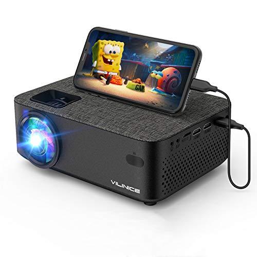 Mini Beamer, VILINICE Heimkino Beamer Full HD, WiFi Projektor mit 5500 Lumen unterstützt 1080P Multimedia 240' , Video Beamer LED kompatibel mit TV Stick, HDMI, SD, AV, VGA, USB, PS4, Smartphone