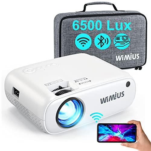 WiFi Bluetooth Beamer, WiMiUS 6500 L Mini Beamer Support 1080P Full HD Video Heimkino Projektor, 250' Display, 75% Zoom, 90000 Stunden LED Projektor