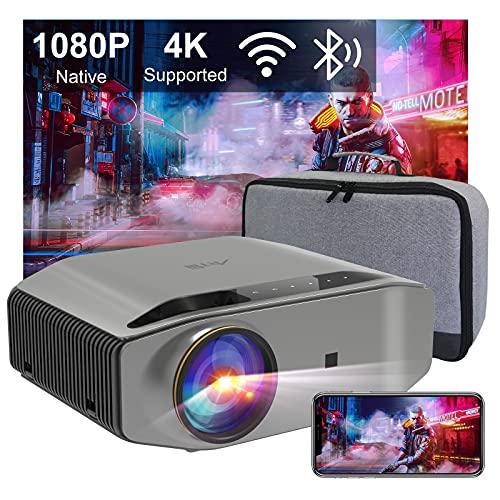 Beamer Full HD WLAN Bluetooth - Artlii Energon2 5.0G WiFi Beamer 9000 Lumens Native 1080P Beamer Unterstützt 4K mit 300' und 60% Zoom Projektor Kompatibel mit TV Stick iOS/Android Phone/ Xbox/ Laptop