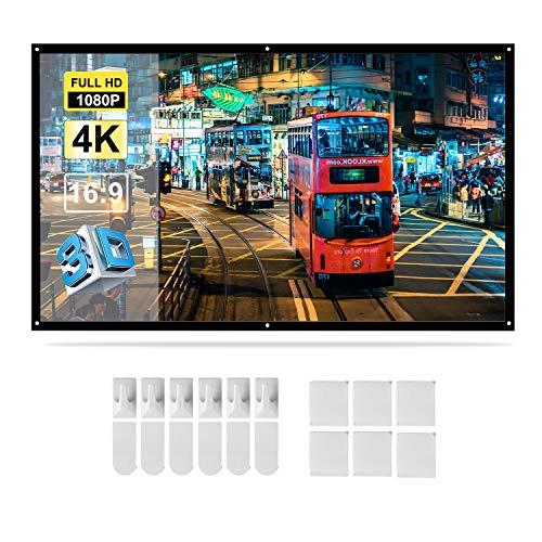 Docooler H84 84 '' Portabel Beamer Bildschirm HD 16: 9 Weiß 84 Zoll-Diagonale Projektions-Bildschirm faltbares Heimkino für Wand-Projektion Zuhause Draußen