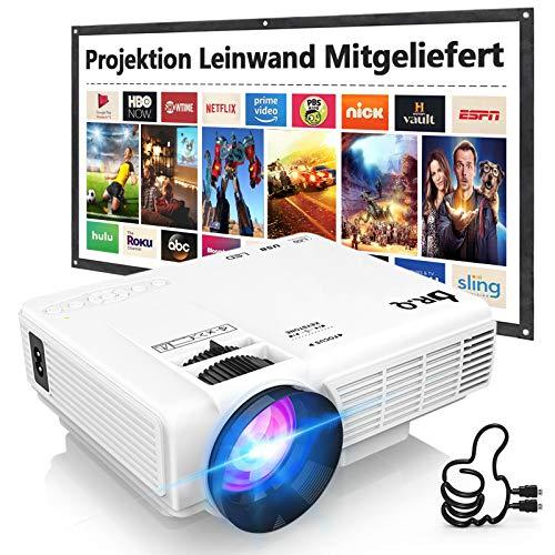 DR.Q HI-04 Beamer mit 100 Zoll Screen, Beamer Full HD 6000 Lumens, Mini Beamer Unterstützt 1080P Full HD, Projektor Kompatibel mit TV Stick Smartphone Tablet HDMI VGA USB, Heimkino Beamer, Weiß.