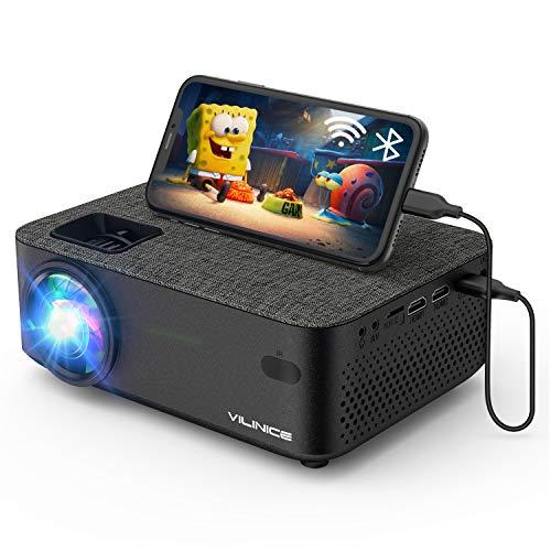Mini Beamer, Vili Nice Heimkino Beamer Full HD, WiFi Projektor mit 6000Lux unterstützt 1080P Multimedia 240' , Video Beamer LED kompatibel mit TV Stick, HDMI, SD, AV, VGA, USB, PS4, Smartphone
