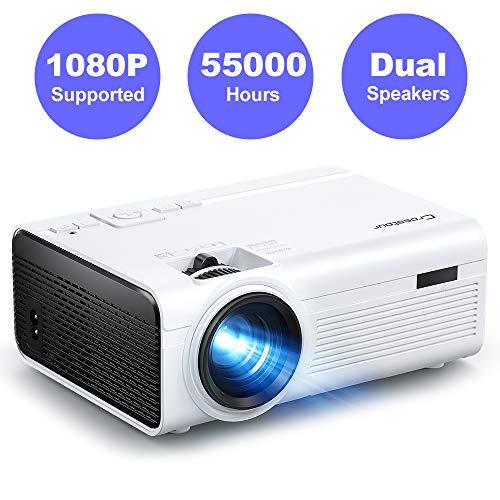 Crosstour Beamer, Mini Video Full HD Unterstützt Heimkino Projector LED Handy Tragbar Projektor Kompatibel mit Chromecast/iPhone/Android/TV Box/Tablet