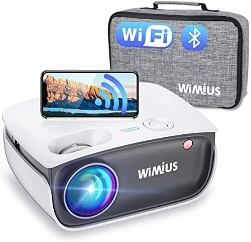 Beamer, WiMiUS 7000 Lumen Mini WiFi Bluetooth Beamer Support 1080P Full HD 4K Video Heimkino Projektor, -50% Zoom, Kompatibel mit TV Stick, PC, TV Box