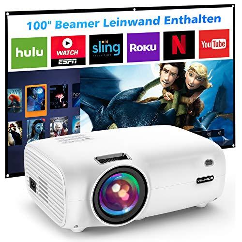 Mini Beamer, VILINICE 5500 Lumen Heimkino Beamer, Unterstützt 1080P Full HD, 100000 Stunden LED, LED Video Beamer kompatibel mit TV Stick, HDMI, SD, AV, VGA, USB, PS4, X-Box, Smartphone