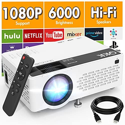 QK K V08 Beamer Unterstützt 1080P Full HD, 6000 Lumens Mini Beamer, Tragbarer Projektor Kompatibel mit TV-Stick Smartphone HDMI VGA USB TF AV, Video Beamer für Heimkino.