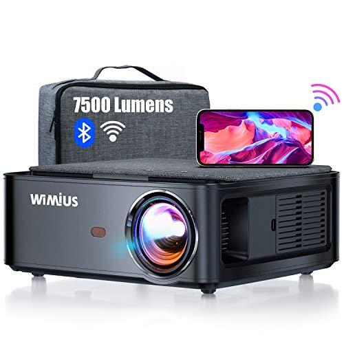 Beamer, WiMiUS 7500 L Full HD 1080P WiFi Bluetooth Beamer Unterstützung 4K Video, LED Heimkino Video Beamer 300 '' Display, kompatibel mit Fire Stick, Laptop, iOS / Android Smartphone, PS5 Projektor